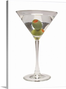 Martini With Two Olives Side View Wall Art Canvas Prints