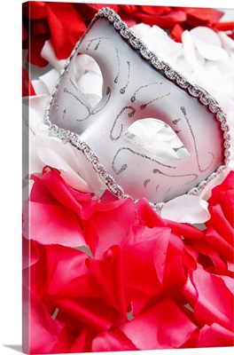 Mask for masquerade ball on rose petals