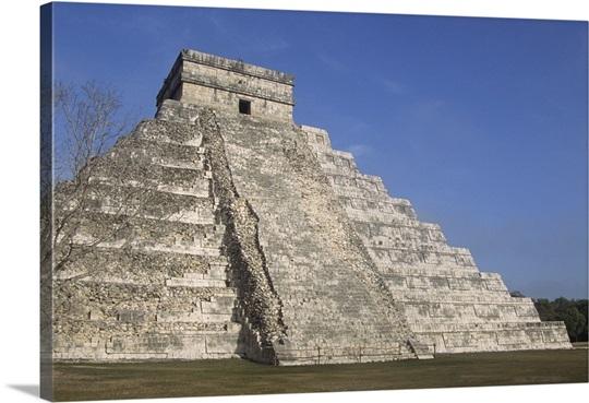 Mayan ruins at Chichen Itza, Kukulcans Pyramid, Yucatan, Mexico Wall ...