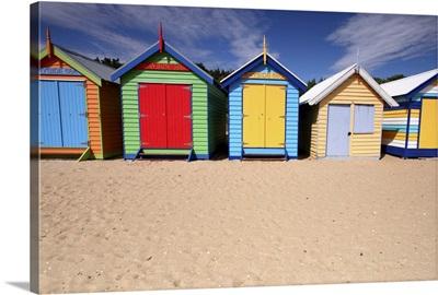 Melbourne beach huts in Australia.