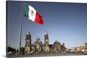 Mexican Flag Over Mexico City Wall Art Canvas Prints