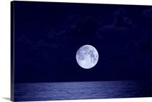 Moon over the ocean, Miami, Florida, USA