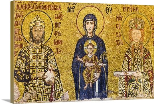 Mosaic of Virgin Mary holding Jesus Wall Art, Canvas Prints, Framed ...
