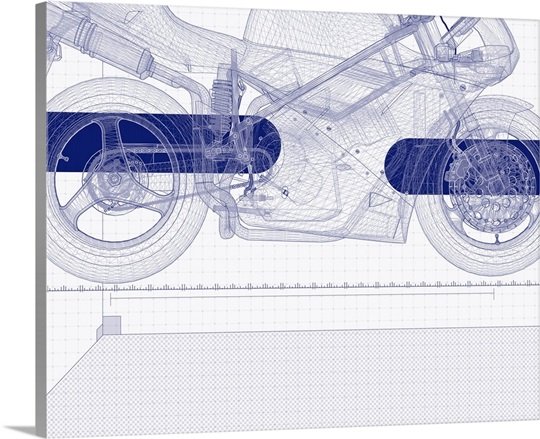 Motor bike blueprint wall art canvas prints framed prints wall motor bike blueprint malvernweather Image collections