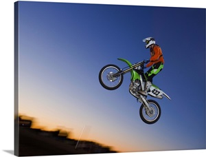 motorcross rider jumping dirt bike wall art canvas prints framed prints wall peels great. Black Bedroom Furniture Sets. Home Design Ideas