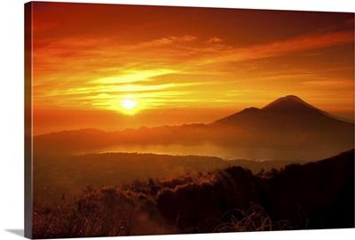 Mount Batur with Danau Batur during sunrise.