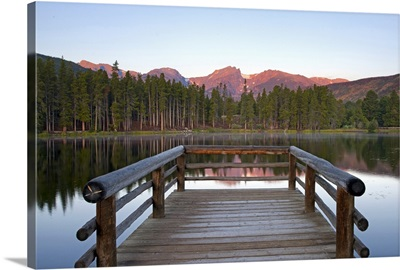 Mountains behind Sprague Lake in Rocky Mountain National Park.