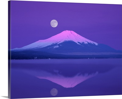 Mt. Fuji below full moon,  Yamanashi Prefecture,  Japan