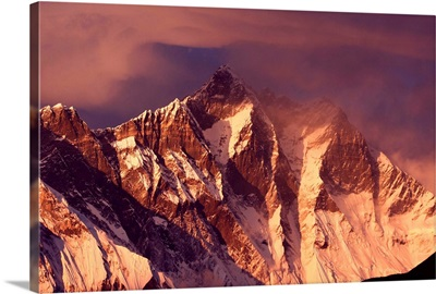 Mt. Lhotse in the Nepal Himalayas at sunset time, Everest Region