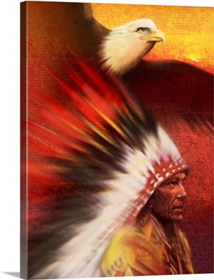 Native American man with Bald Eagle