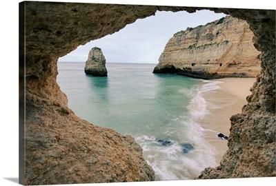 Natural frame through Remote beach in Lagoa Portugal.