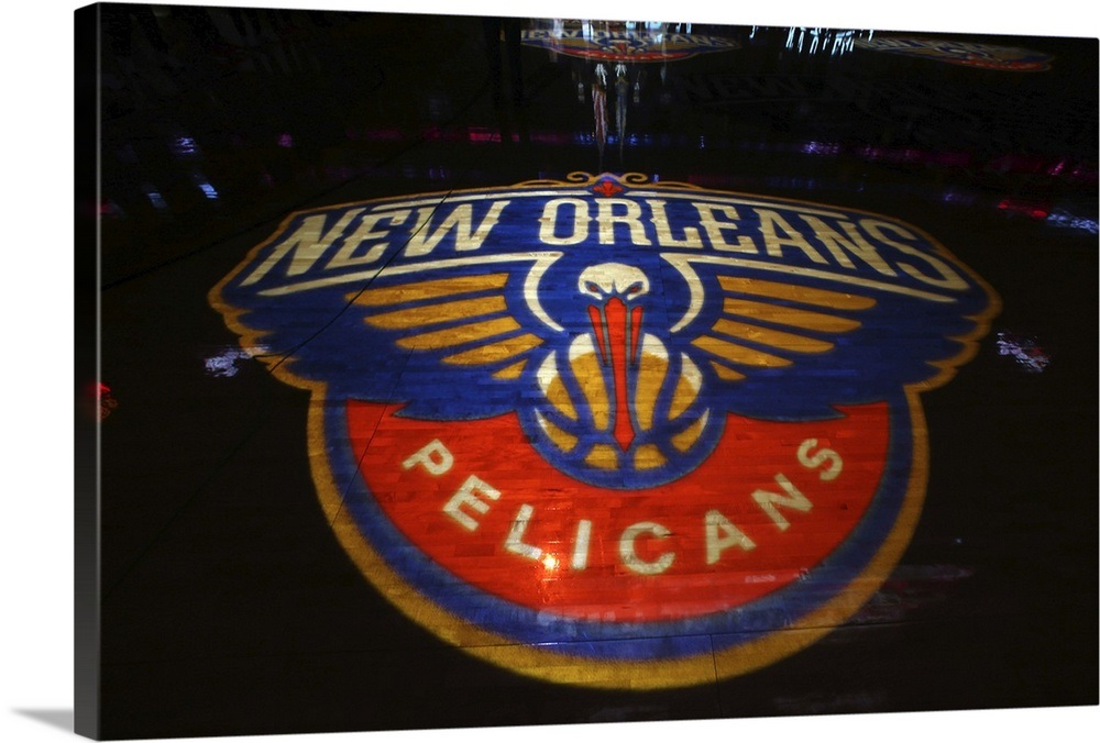 New Orleans Pelicans logo on the court at the Smoothie King Center