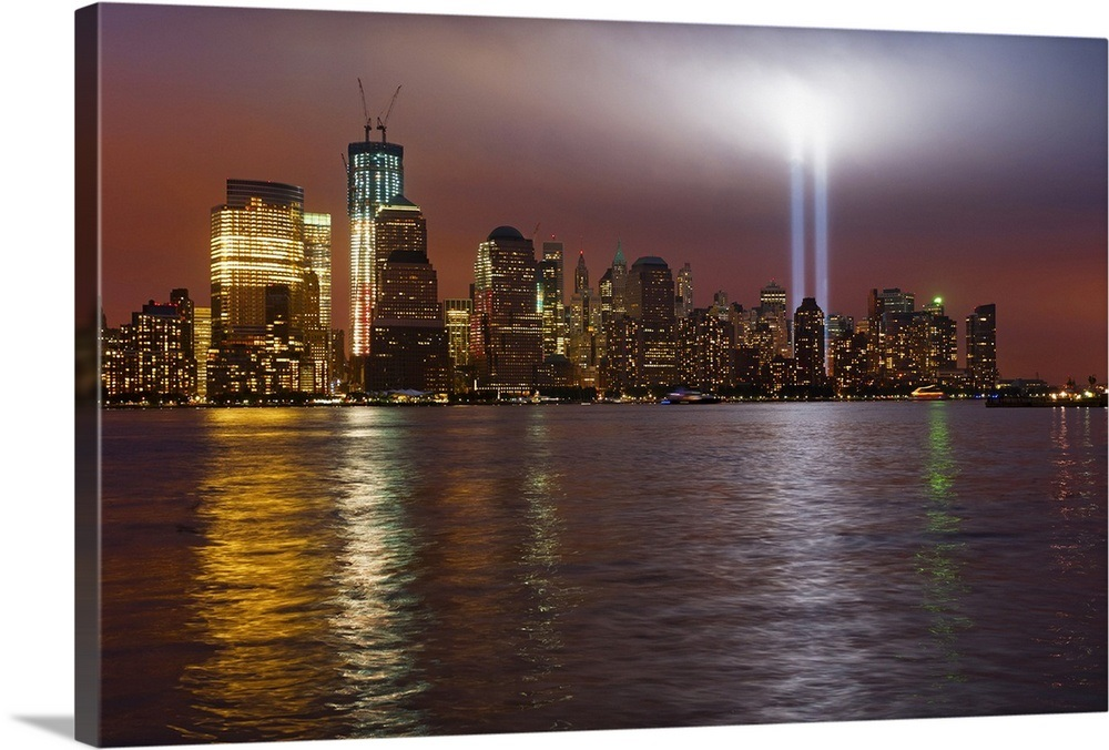 New York City Manhattan Skyline With 9 11 Memorial Lights