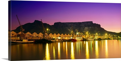 Night lights of Cape Town Harbour at sunset.