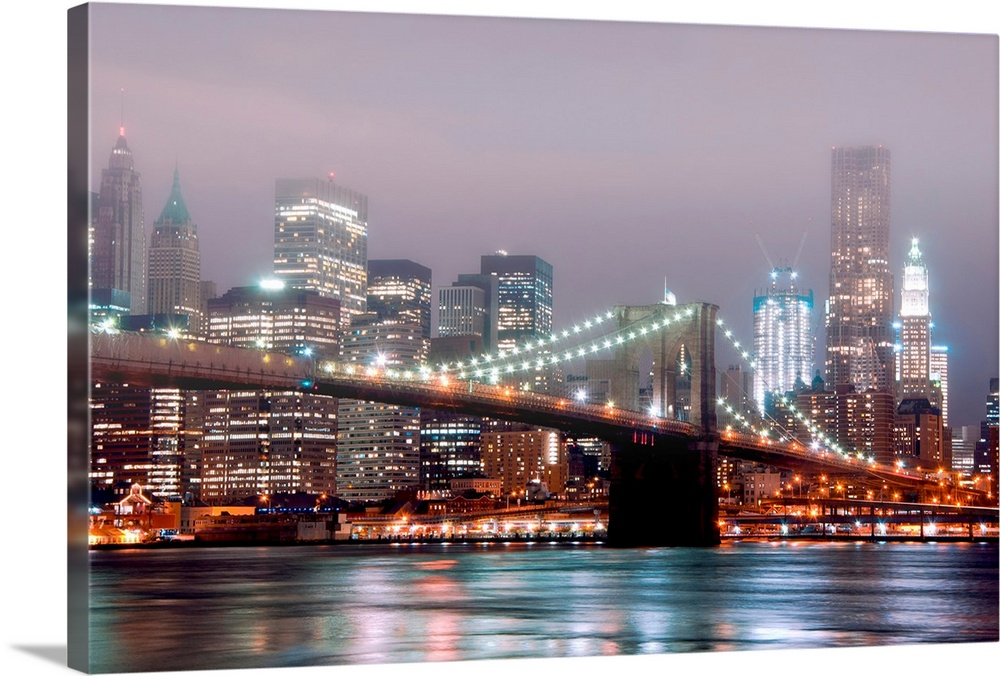Night Shot Of Manhattan Skyline And Brooklyn Bridge With Fog In Air Wall Art Canvas Prints Framed Prints Wall Peels Great Big Canvas