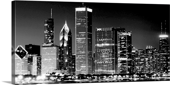 Night view of chicago 39 s famous cityscape an american for Black and white celebrity prints