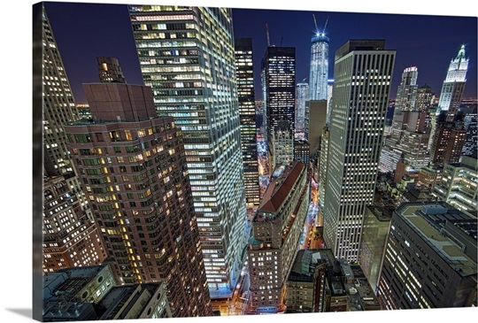 New York City Canvas Wall Art nyc skyscrapers light upnight, new york. wall art, canvas