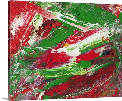 Oil Painting in Red, Green and White Colors, Front View