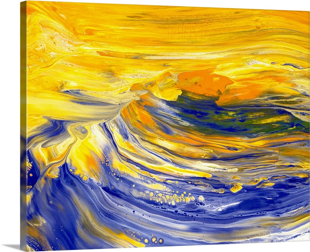 Oil Painting In Yellow And Blue Colors Front View Wall