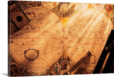 Old-fashion world map with navigational tools on top