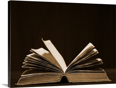 Open old book, studio shot