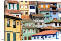 Painted houses like a puzzle in Cudillero, Spain.