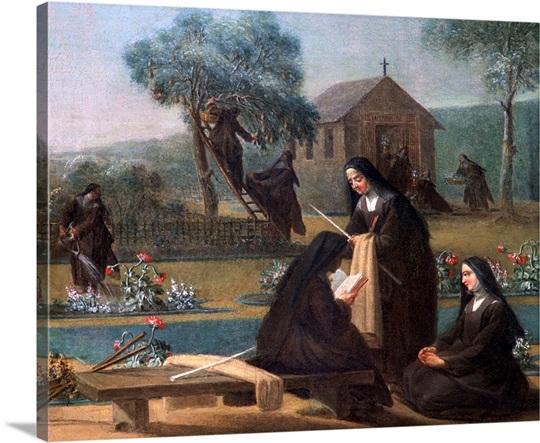 painting of nuns working in garden - Garden Wall Art