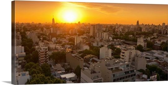 Panoramic Wall Art palermo hollywood, panoramic view at sunset, buenos aires