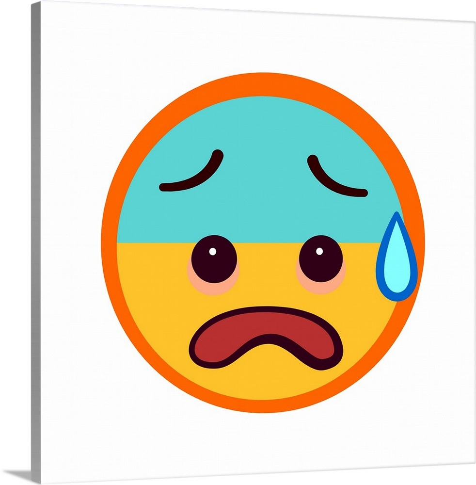 Panicked Emoji With Half Blue Face Wall Art Canvas Prints Framed