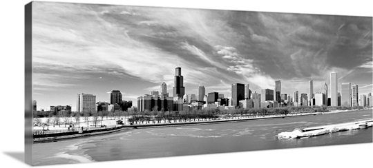 Panoramic Wall Art panoramic view of chicago skyline in winter. wall art, canvas
