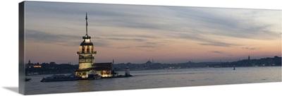 Panoramic view of Istanbul Bosporus and Maiden Tower