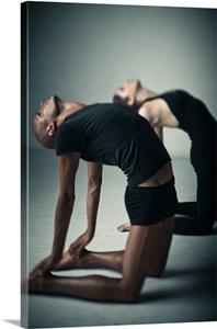 partner yoga back stretch photo canvas print  great big
