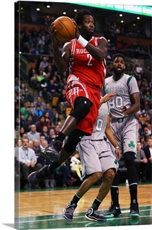 Patrick Beverley of the Houston Rockets takes a shot against the Boston Celtics