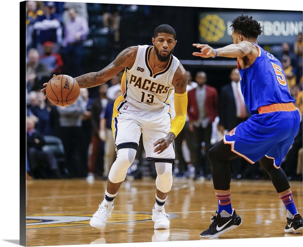 68d00b65cb1 Paul George 13 of the Indiana Pacers dribbles the ball during the game Wall  Art