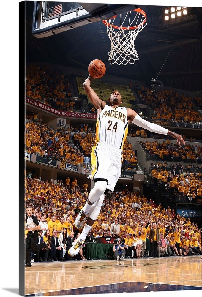 5027f365c29 Paul George 24 of the Indiana Pacers dunks against the Miami Heat Wall Art