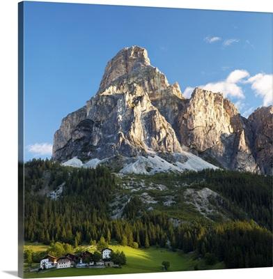 Peak in Dolomites called Sassongher at sunrise in Corvara in Badia.