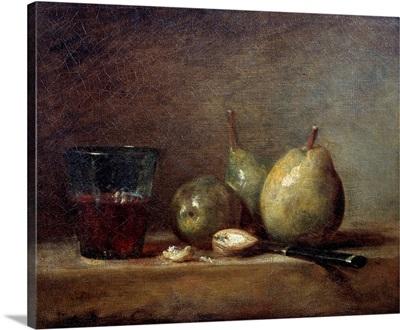 Pears, Walnuts and Glass of Wine by Jean Baptiste Simeon Chardin