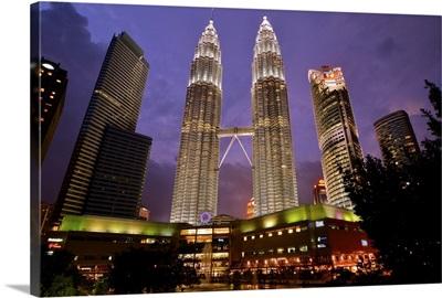 Petronas Twin Towers and Suria KLCC Shopping Complex, Kuala Lumpur, Malaysia.