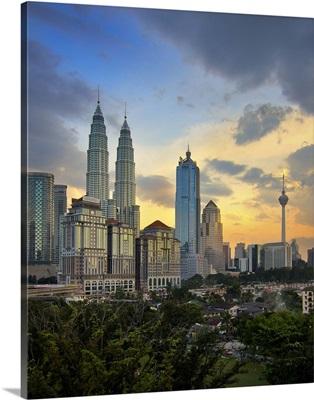 Petronas twin towers at sunset.