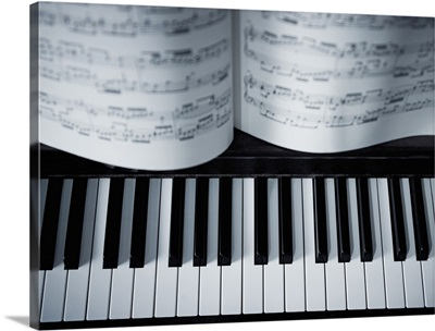 Piano keys and music book detail.