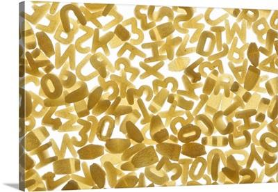 Pile of alphabet noodles