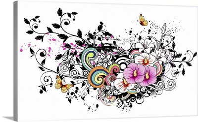 Pink and white flowers with design element