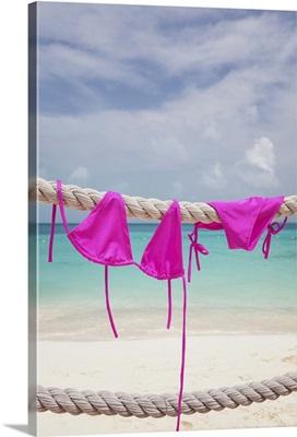 Pink bikini drying on the rope, Quintana Roo, Mexico
