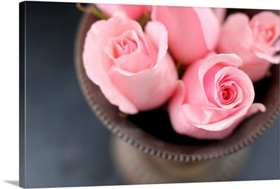 Pink roses in vase from above.