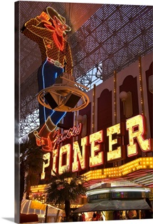 Pioneer casino cowboy neon sign on Fremont Street.