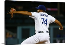 Pitcher Kenley Jansen of the Los Angeles Dodgers pitches in the ninth inning