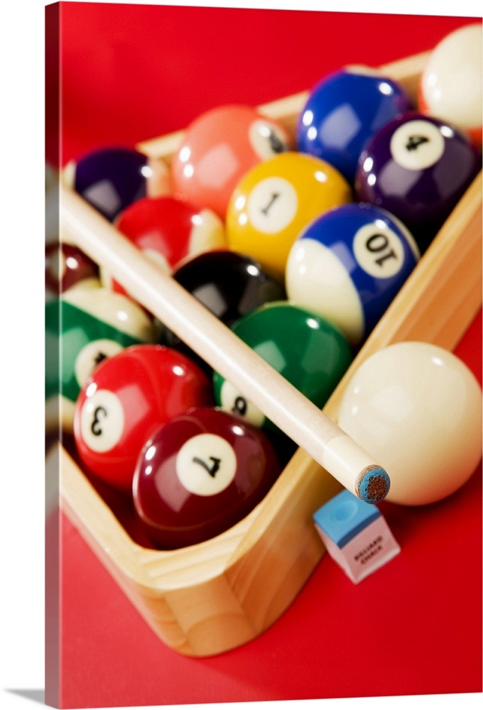 Racked Pool Balls And Stick Wall Art Canvas Prints