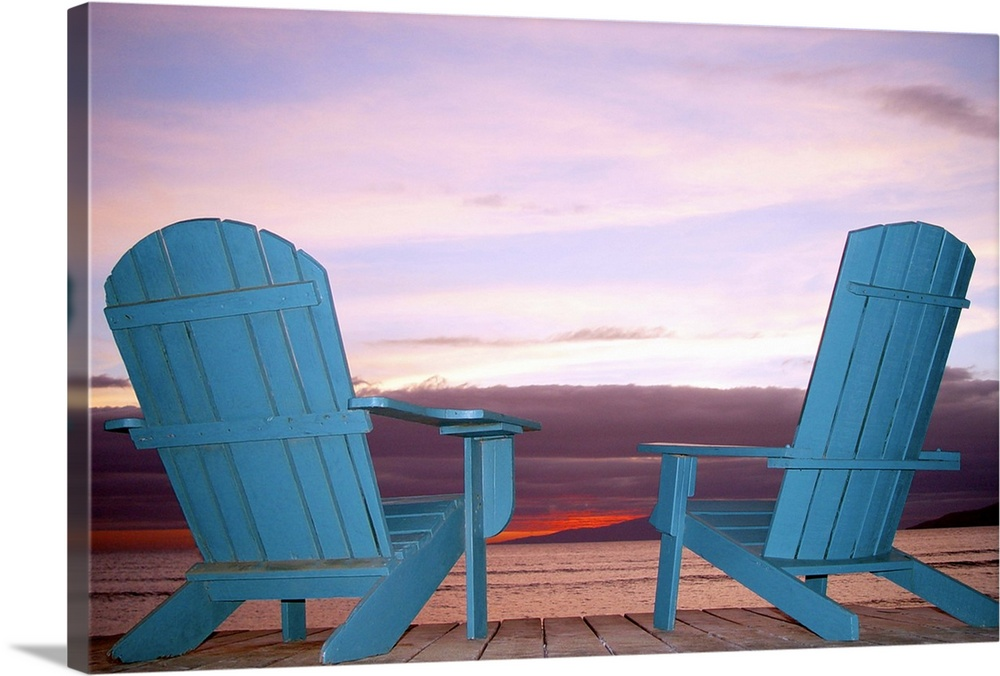 Rear View Still Life Of Two Blue Adirondack Chairs On A Boardwalk At The  Coast.
