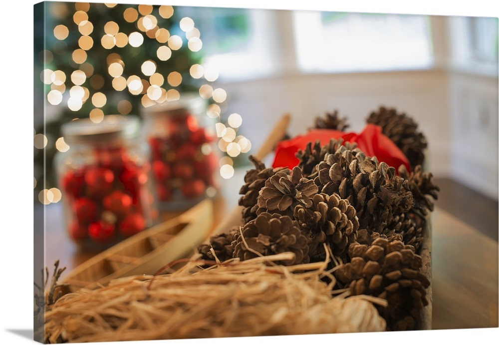 Red Glass Balls And Pine Cones. Christmas Decorations And