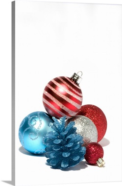 Red white and blue Christmas ornaments Wall Art Canvas Prints